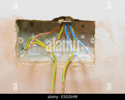 Electric sockets with wires ready for wiring into a new property or extension - Stock Photo