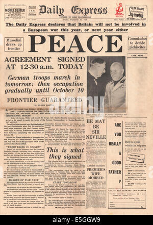 1938 Daily Express Front Page Reporting The Signing Of The Munich