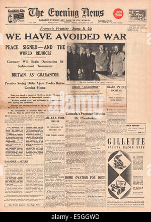 1938 Evening News London Front Page Reporting The Signing Of The