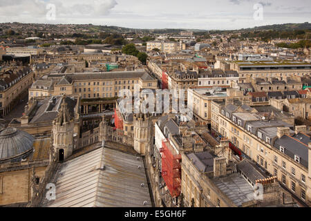 UK, England, Wiltshire, Bath town centre, elevated view of Pump Room looking west from Abbey roof - Stock Photo