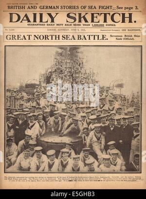 1916 Daily Sketch front page reporting Battle of Jutland - Stock Photo