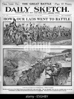 1916 Daily Sketch front page reporting Battle of the Somme - Stock Photo