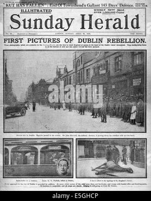 1916 Sunday Herald front page reporting Easter Uprising Dublin Ireland - Stock Photo