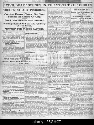 1916 Sunday Herald page 2 reporting Easter Uprising Dublin Ireland - Stock Photo