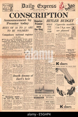 1939 Daily Express front page reporting British government introduces conscription