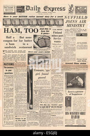 1939 Daily Express front page reporting Ham, Bacon and Butter are rationed