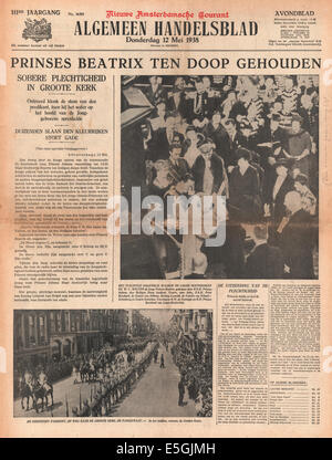 1938 Algemeen Handelsblad (Holland) front page reporting Princess Beatrix of The Netherlands baptised - Stock Photo