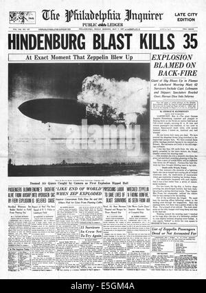 1937 Philadelphia Inquirer (USA) front page reporting the Hindenburg zeppelin disaster at Lakehurst, New Jersey - Stock Photo