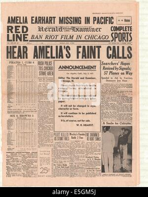 1937 Chicago Herald Examiner (USA) front page reporting Amelia Earhart missing - Stock Photo