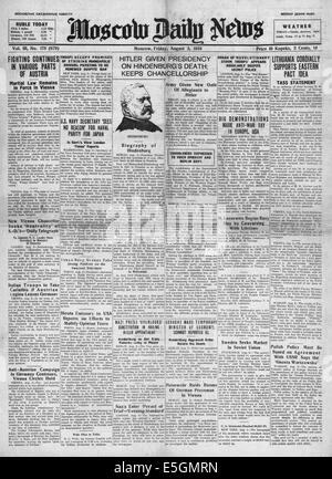 1934 Moscow Daily News Adolf Hitler becomes Chancellor and President of Germany after the death of Paul von Hindenburg - Stock Photo