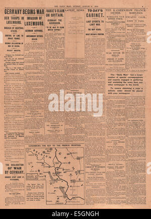 1914 Daily Mail page 5 reporting German invasion of Luxembourg - Stock Photo