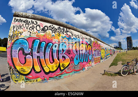 Germany, Berlin: Part of the former Berlin Wall at East Side Gallery - Stock Photo