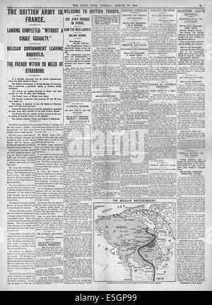 1914 Daily Mail page 5 reporting British expiditionary force lands in France - Stock Photo