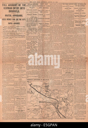 1914 Daily Mail page 4 reporting German army capture Brussels and Belgium army retreat - Stock Photo