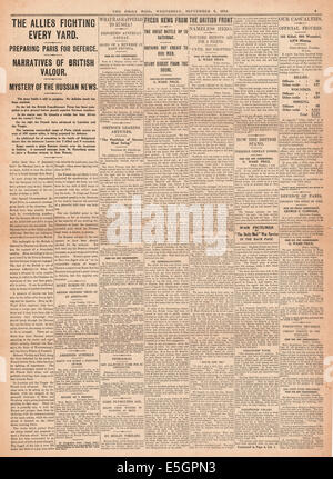 1914 Daily Mail page 5 reporting general war news - Stock Photo