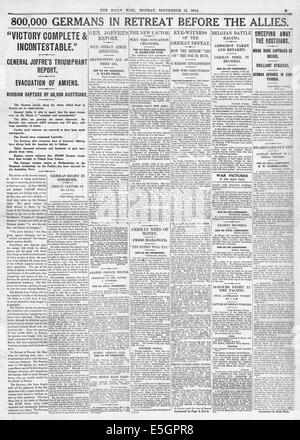 1914 Daily Mail page 5 reporting retreat of the German army following allied offensive - Stock Photo