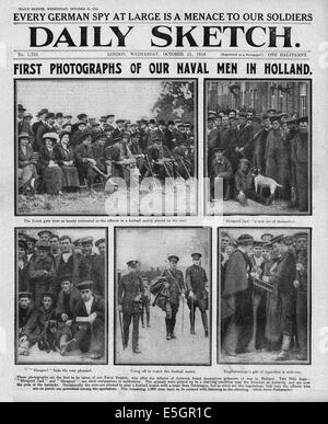 1914 Daily Sketch front page reporting British naval brigade as prisoners of war in Holland - Stock Photo