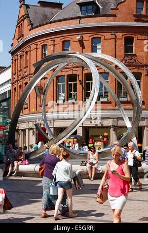 cornmarket with the spirit of belfast sculpture Belfast city centre - Stock Photo