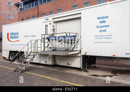 Mobile MRI Scanning Unit outside NHS Urgent Care Centre - Stock Photo