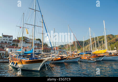 Gulet boats moored in the old port of Marmaris on the Aegean coast, Turkey - Stock Photo
