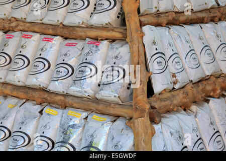 Bags of Coffee in store, Nha Trang City, Vietnam, Asia - Stock Photo