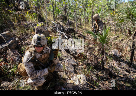 U.S. Marine Corps Sgt. Nicholas Garton, a machine gunner with Bravo Company, 1st Battalion, 5th Marine Regiment, - Stock Photo