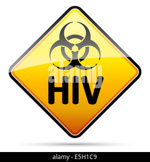 HIV Biohazard virus danger sign with reflect and shadow on white background. Isolated warning symbol. - Stock Photo
