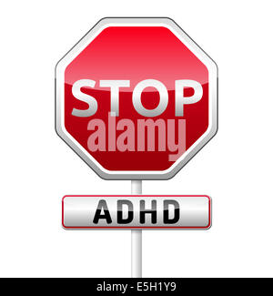 ADHD - Attention deficit hyperactivity disorder - isolated sign with reflection and shadow on white background - Stock Photo