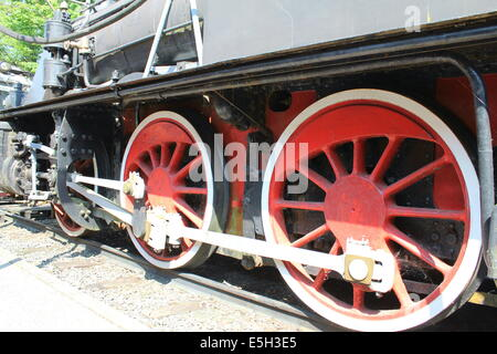 Side of an old steam locomotive you see gear wheels. - Stock Photo