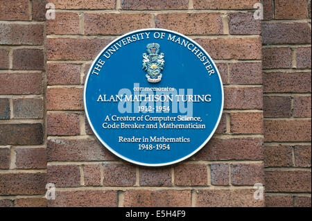 A plaque to commemorate Mathematician Alan Mathison Turing, at the University campus area (off Oxford Road) in Manchester. - Stock Photo