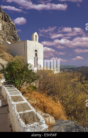 San Michalis Catholic church situated on a excellent viewpoint near Ano Syros(Chora) town in Syros island, Cyclades, - Stock Photo