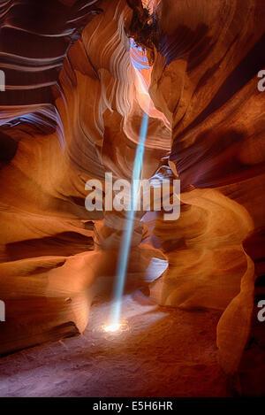 Upper Antelope Canyon, Light Shaft - Stock Photo
