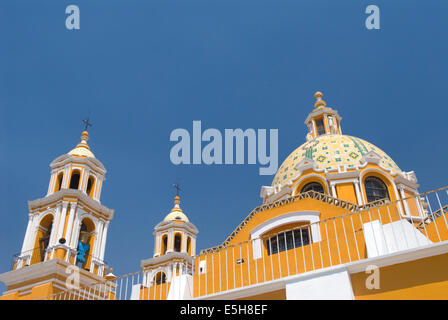 Exterior of the Church of Neustra Senor de los Remedios or Our Lady of Remedios in Cholula, Mexico - Stock Photo