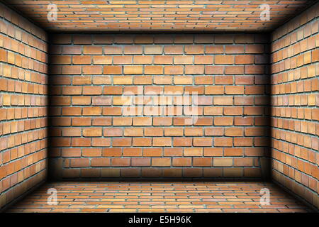 brick walls on interior architectural backdrop, empty room for your design - Stock Photo