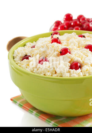 cottage cheese in bowl on white background - Stock Photo
