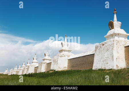 Stupas of the outer wall, Erdene Zuu Monastery, Karakorum, Kharkhorin, southern steppe, Övörkhangai Province, Mongolia - Stock Photo