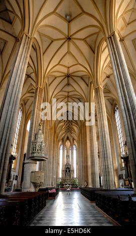 Brno, South Moravia, Czech Republic. Church of St James / kostel svateho Jakuba (14thC - late Gothic) Interior - Stock Photo