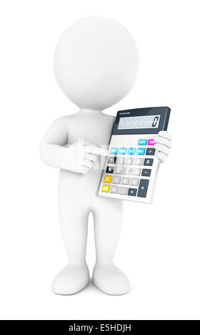 3d white people accountant, isolated white background, 3d image - Stock Photo