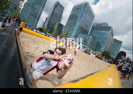 Wood Wharf, London, UK. 1st August 2014. Wood Wharf plays host to two days of London Beach Rugby tournaments in - Stock Photo