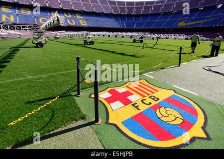 Camp Nou stadium, logo of FC Barcelona, Barcelona, Catalonia, Spain - Stock Photo