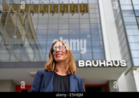 Dessau-Rosslau, Germany. 01st Aug, 2014. New director of the Bauhaus Foundation Dessau, Claudia Perren, stands in - Stock Photo