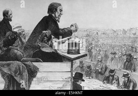 William Gladstone (1809- 1898) British Liberal statesman. Engraving by Rico, Spain, 1877. - Stock Photo