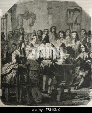 Thomas Britton (1657 1714). English charcoal merchant and concert promoter. Engravig by Ribaraud,1879. - Stock Photo