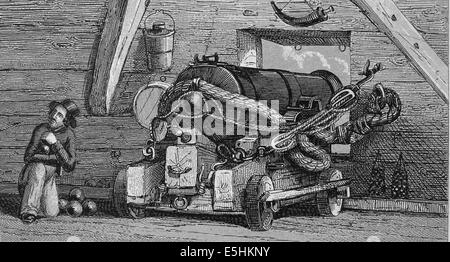36-pounder long gun. Engraving. Iconographic Enclyclopaedia of science, Literature and Art. 19th century. - Stock Photo