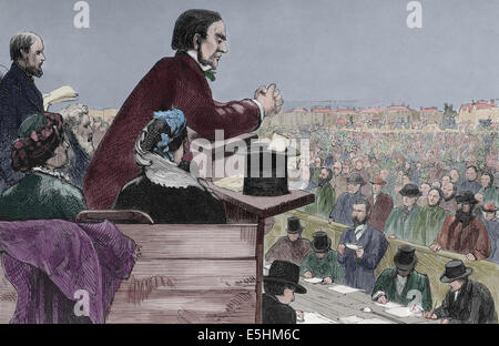 William Gladstone (1809- 1898) British Liberal statesma. Engraving by Rico, Spain, 1877. Later colouration. - Stock Photo