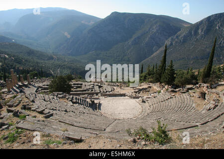 Greece. City of Delphi. 8th century BC-2nd century AD. View over the Theatre. - Stock Photo