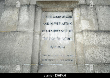 White Cliffs of Dover, Kent, UK. 1st Aug, 2014. A monument to The Dover Patrol stands on the White Cliffs of Dover. - Stock Photo