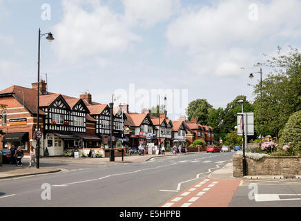 Street scene with small  shops in centre of Ribble Valley village. King Street, Whalley, Lancashire, England, UK, - Stock Photo