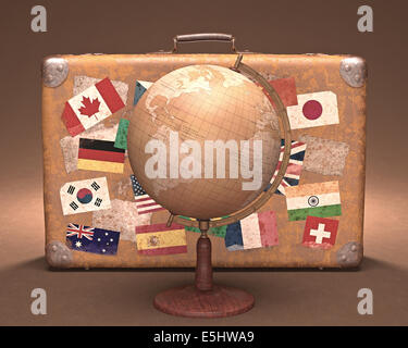 Antique globe in front of a retro suitcase. Travel concept around the world. - Stock Photo