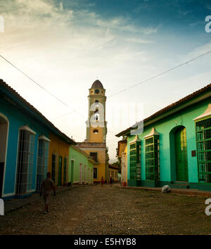 Church steeple at dusk in the colonial town of Trinidad, Cuba a Unesco World Heritage site - Stock Photo